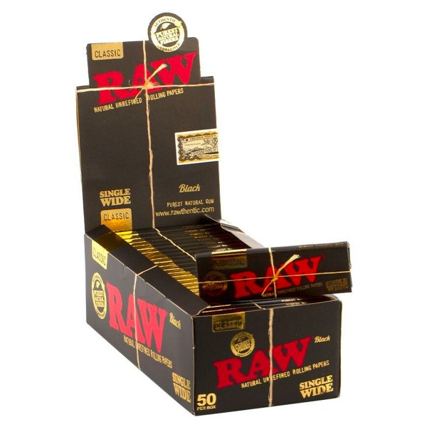RAW   Black Single Wide Single Window Rolling Papers 50 leaves per booklet - 50 booklets in one disp