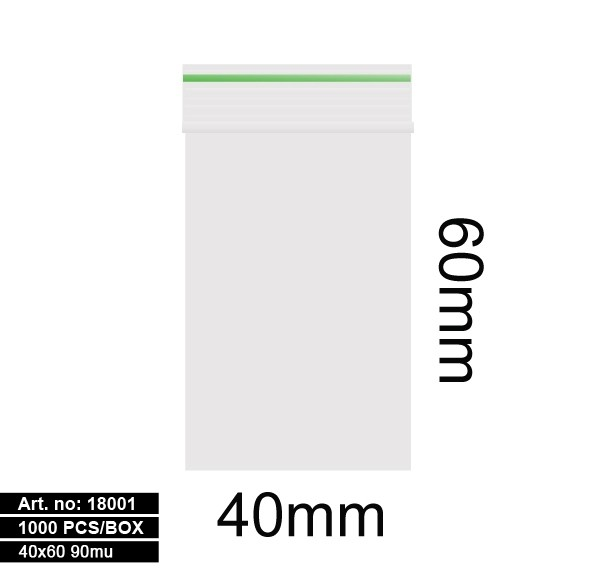 Plastic bags - 1000stk 40x60mm 90mu GREEN