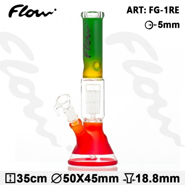 Flow | Beaker Bong Glass -Rasta- H:35cm-Ø:45mm- SG:18.8mm