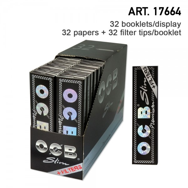 OCB   Premium Slim Papers (109 x 44 mm) with filter tips, 32 booklets in display / 32 papers + 32 fi