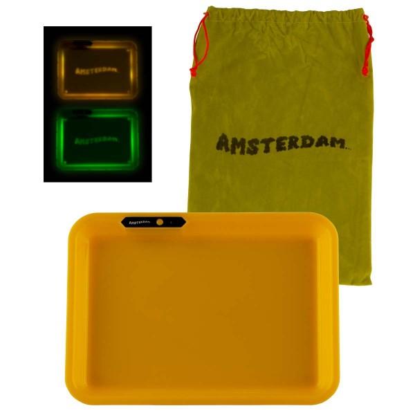 Amsterdam | Acyrlic Multi Colors LED Tray Yellow - L:26cm - W:21cm with Amsterdam bag!