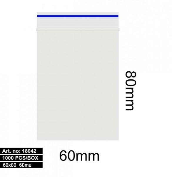Plastic bags - 1000stk 60x80mm 60mu BLUE