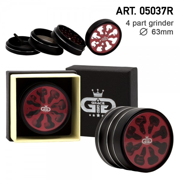 Grace Glass   Tornado Series Red - 63mm 4-part Grinder with window - Single piece in a luxury box