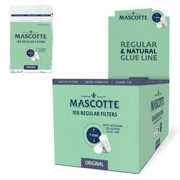 Mascotte   Original Regular Size Filters 7mm diameter - 100 filter tips in one bag and 10 packs in a