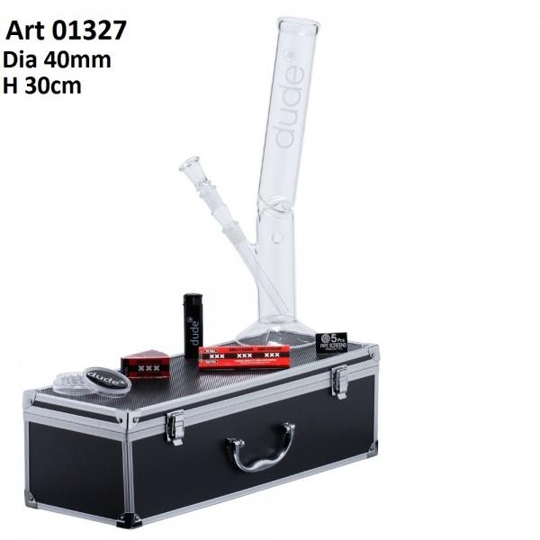 Dude Glass Bong in Aluminum Box - H:30cm - Ø:40mm