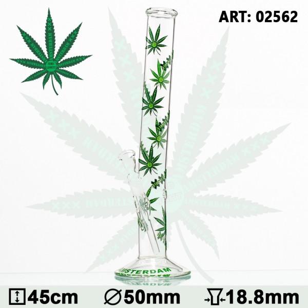 Green XXX Amsterdam Leaf Glass Bong- Ø:50mm- H:45cm - Socket:18.8mm