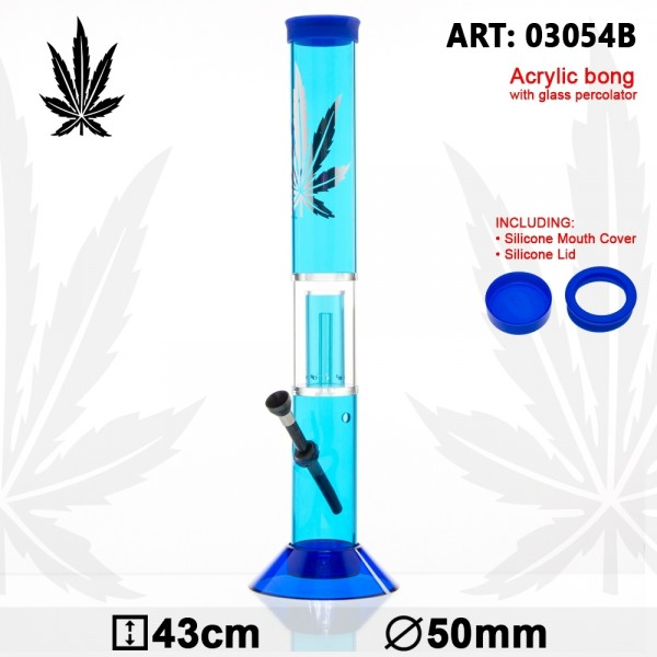 Bong Acrylic Leaf - Blue- H:43cm - Ø:50mm - Glass Percolator