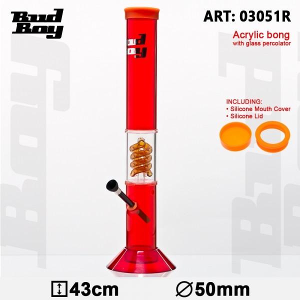 Bud Boy | Cane Bong- Red- H:43cm- Ø:50mm -WT:3mm (circa)- Spiral Percolator