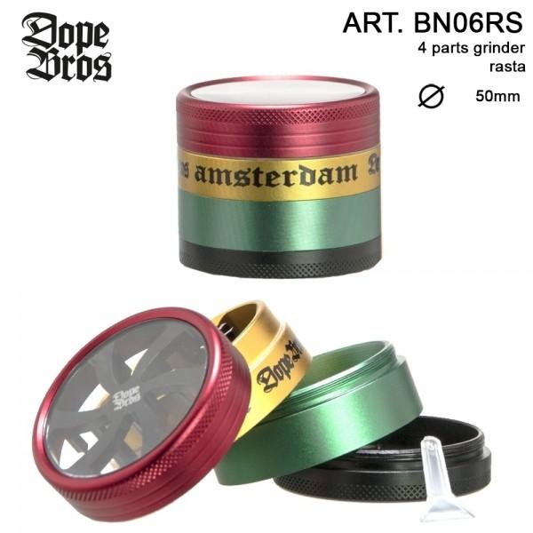 Dope Bros | Grinder Rasta- 4part- Ø:50mm-6pcs/box