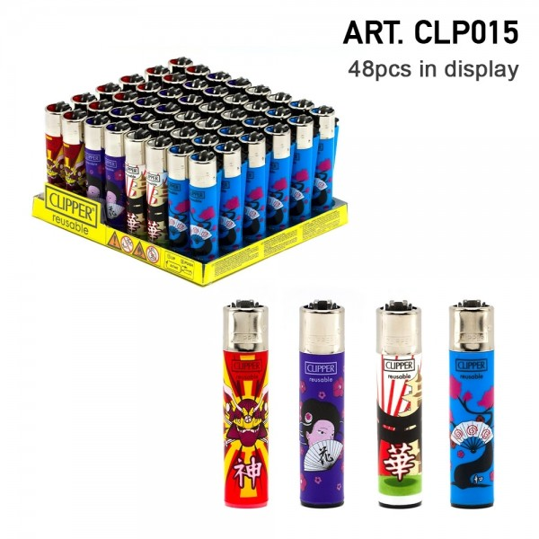 Clipper | Kanjis refillable lighters with mixed designs - 48pcs in display