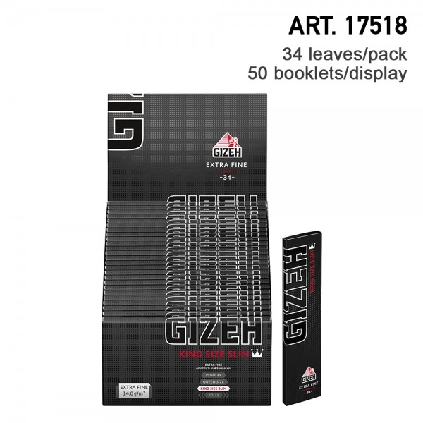 Gizeh   King Size Slim Extra Fine 34 leaves per booklet and 50 booklets in a display - Length: 107m