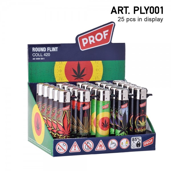 Prof | Round flint lighters 25 pcs in a display