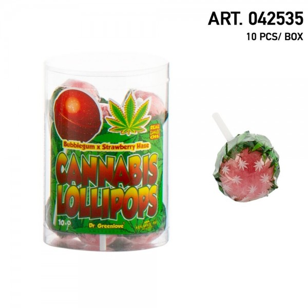 Cannabis | Lollipops Strawberry Haze with Bubblegum 10 pcs in a box
