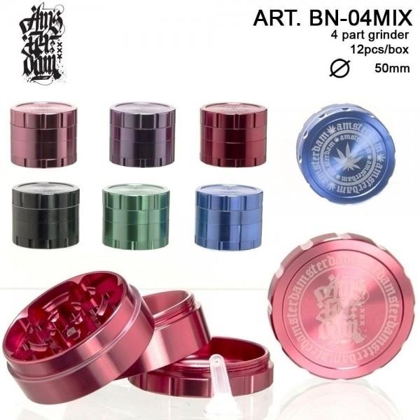 Amsterdam Grinder- 4part- Ø:50mm-12pcs/box-mix of colors