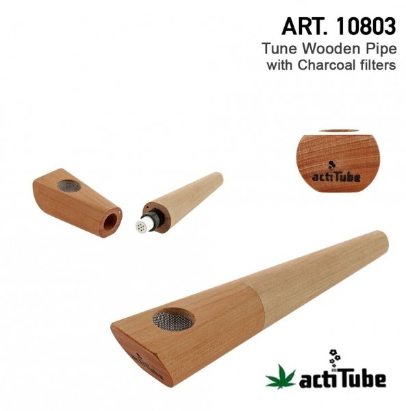 actiTube | Wooden Pipe with Activ Charcoal Filter with 3 Filters