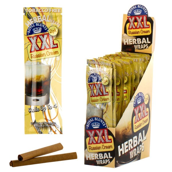 Royal Blunts | Herbal Wraps XXL - Russian Cream - 25 packs in display - Each display contains 100 wr