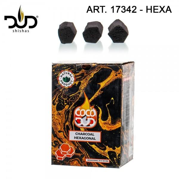 DUD Shisha | CoCo DUD Hexagon Shape-charcoal- 72pcs/box 1 kg