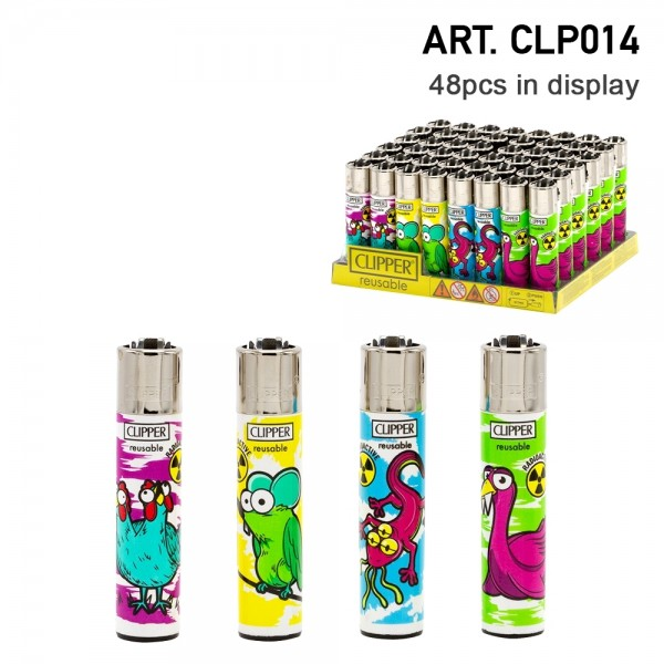 Clipper | Mutant Animals refillable lighters with mixed designs - 48pcs in display