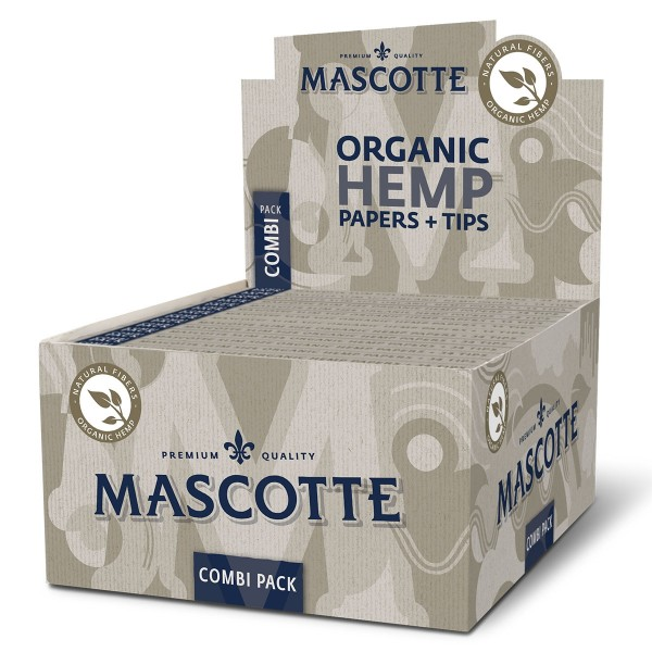 Mascotte | Organic Hemp King Size Slim Paper + Filter Tips - 34 leaves and 34 tips per booklet and 2
