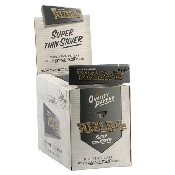 Rizla | Super Thin Silver Rolling Papers 50 leaves per booklet - 100 booklets per display