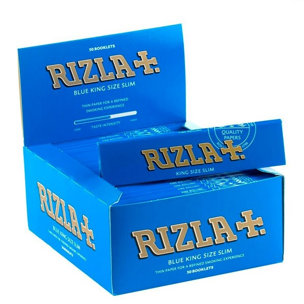 Rizla | Blue King Size Slim Rolling Papers 32 leaves per booklet - 50 booklets per display