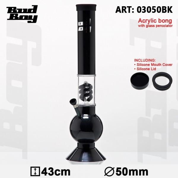 Bouncer Bud Boy Bong- Black- H:43cm- Ø:50mm- WT:3mm (circa)- Spiral Percolator