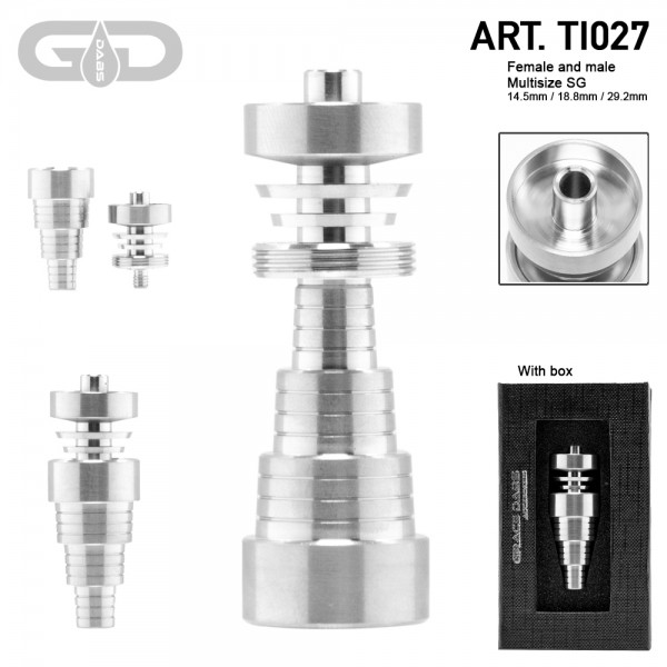 Grace Glass | Titanium domeless nail multi size - SG fits 14.5/18.8/29.2mm (male/female)