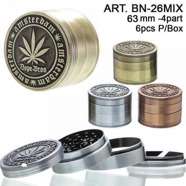 Dope Bros Grinder-Ø:63mm-4part-6pcs/box-mixed colors