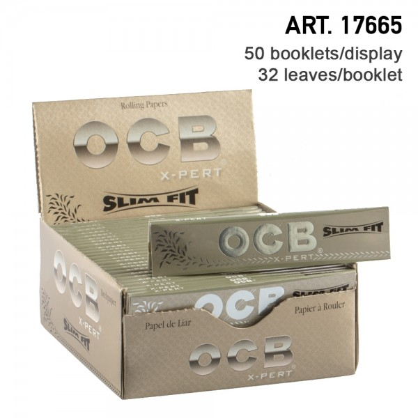 OCB | X-Pert Slim Fit King Size Papers (110 x 40 mm) with 32 leaves 50 booklets in display