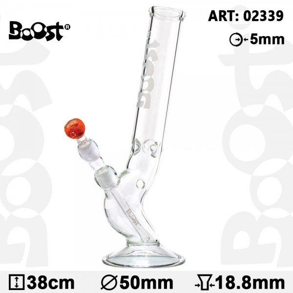 Boost Bolt Glass Bong -H:38cm- Ø:50mm -SG:18.8mm- WT:5mm (circa)