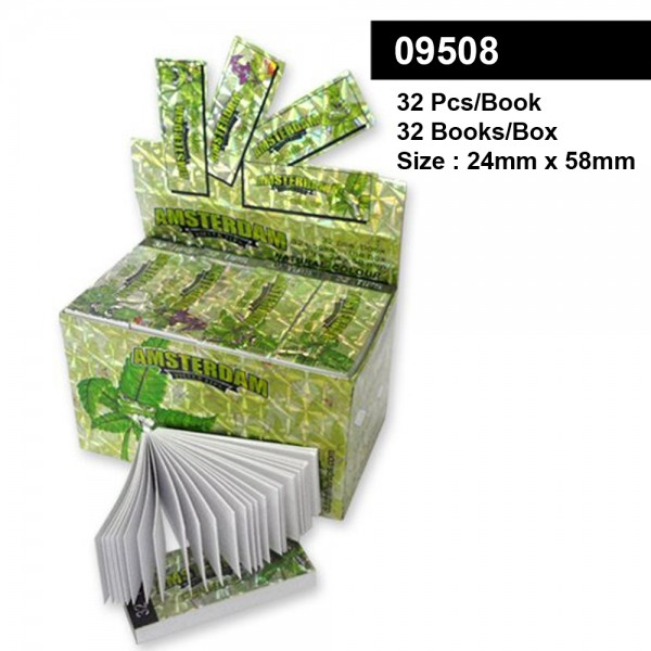 Amsterdam Leaf Filter Tips - Large Size 24 x 58mm - Display with 32 Books with each 32 Sheets