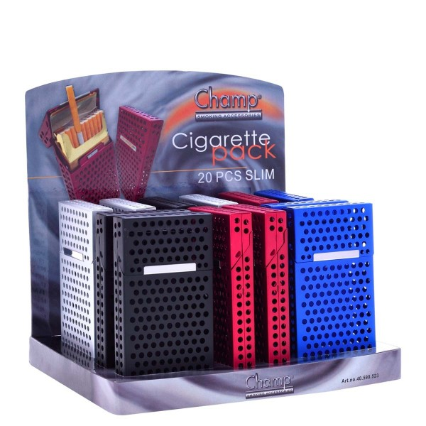 Champ | Aluminium Perforated Mini cigarette cases for 20pcs slim cigarettes in different colors and