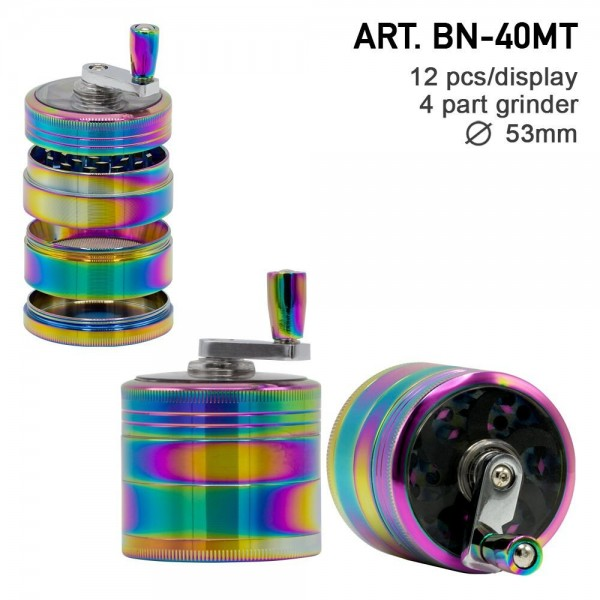 Grace Glass Amsterdam   Rainbow Grinders - 4part - Ø:53mm - crank and window - Rainbow Colors - 12pc