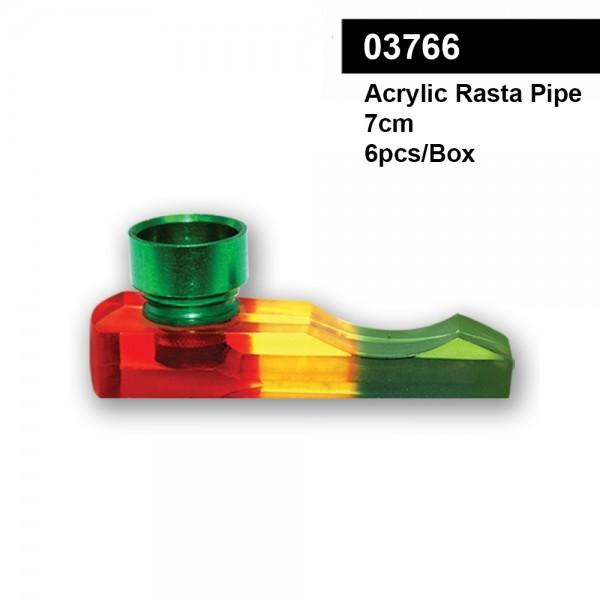 Acrylic Mini Rasta Pipe- L:7cm - 6pcs