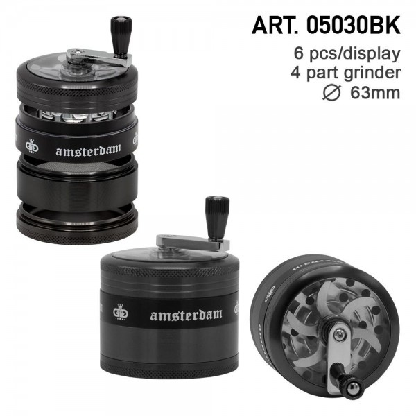 Grace Glass Amsterdam | Grinders - 4part - Ø:63mm - crank and window - Black - 6pcs/box