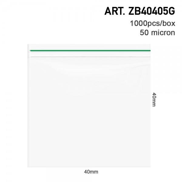 Amsterdam | Zipper Bags 40mm x 40mm 50µ (MU) Green 1000pcs in a display