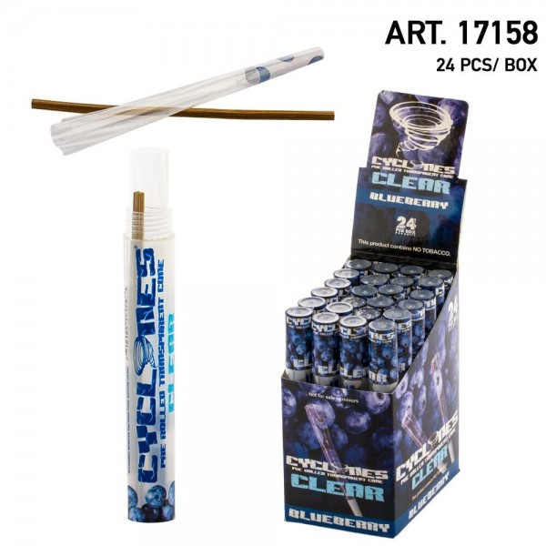 Cyclone Clear Pre-Rolled Cones- Blueberry Flavour (24pcs/Box)
