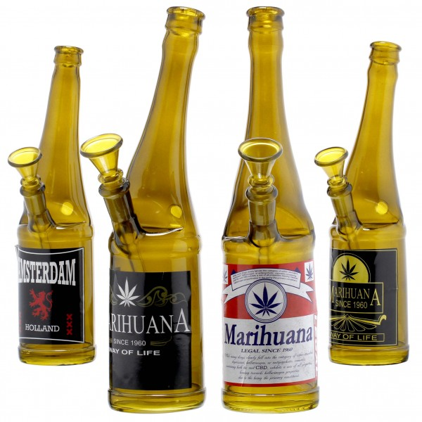 Beer Bottle Glass Bong- H:26cm- SG:14.5mm- 4pcs in Box