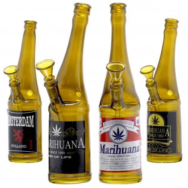 Beer Bottle Glass Bong- H:26cm- SG:14.5mm- 4pcs in Box