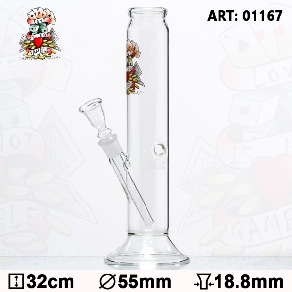 Tattoo Glass Bong - H:32cm- Ø:55mm -Socket:18.8mm