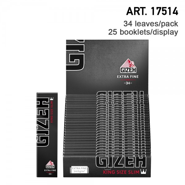 Gizeh   King Size Slim Extra Fine 34 leaves per booklet and 25 booklets in a display - Length: 107mm