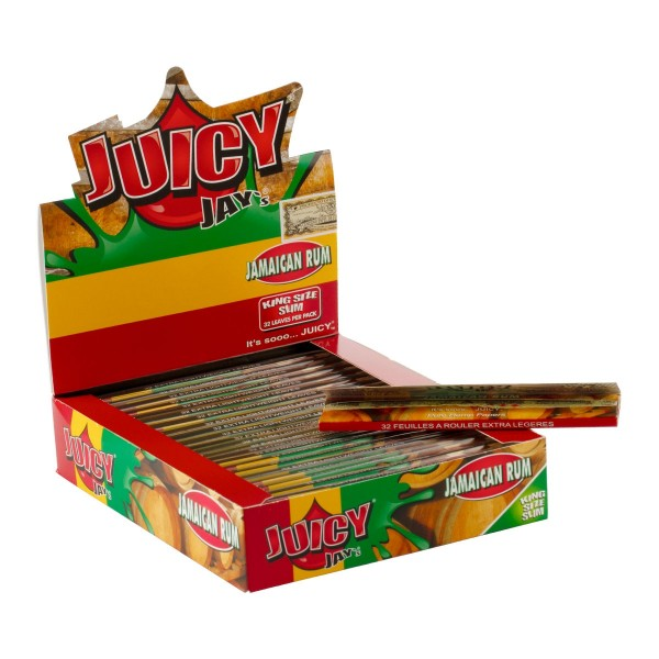Juicy Jay's | Jamaican Rum flavored King Size Slim rolling papers - 24pcs in a display