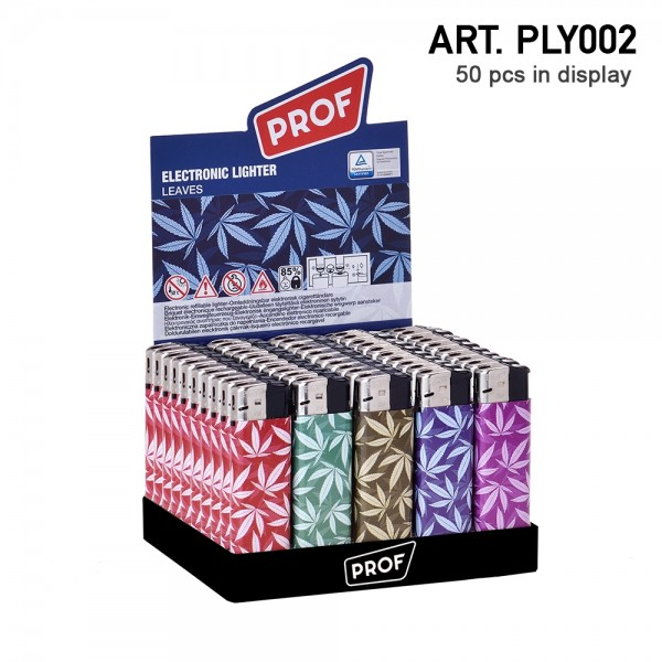 Prof | Lighters with leaf logo's 50 pcs in a display