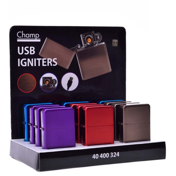 Champ | USB lighters with mixed colors there are 12 pcs in a display