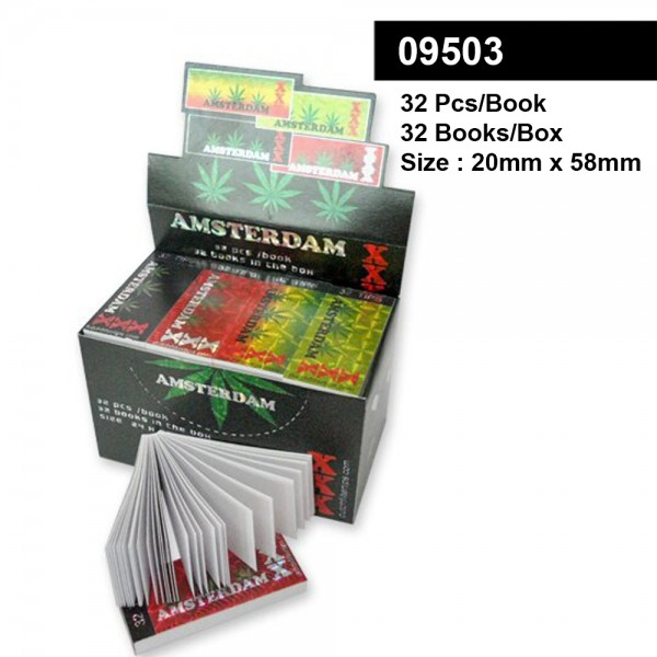 Amsterdam Rasta Man Filter Tips - Small Size 20 x 58mm - Display with 32 Books with each 32 Sheets