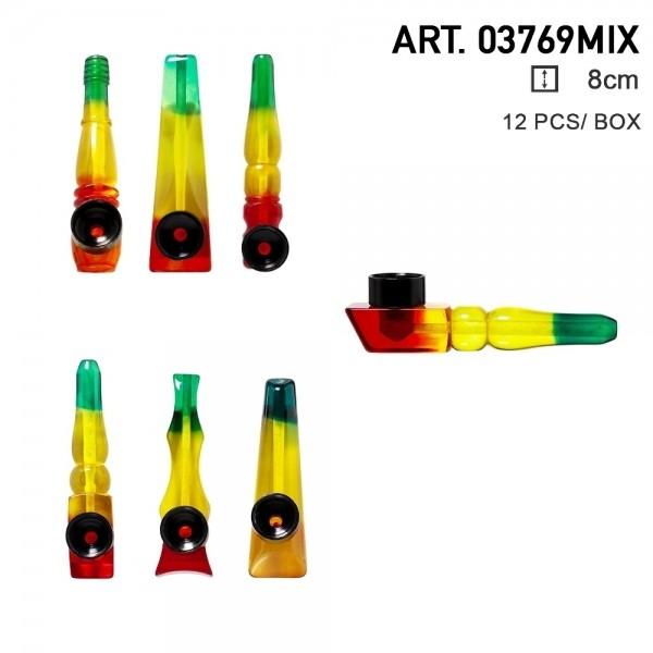 Rasta   Acrylic Mini Rasta Pipes Mixed of different shapes - L:8cm 12pcs per box