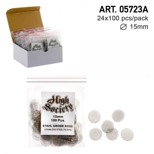High Society   Stainless steel Screen - Ø:15mm- 100pcs x 24 Pack =2400 Pcs