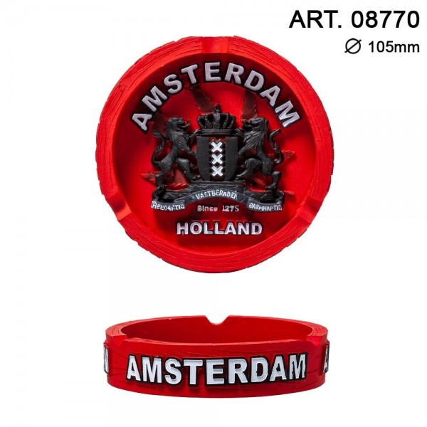 Amsterdam | Clay Ashtray with Amsterdam Logo Dia: 105mm