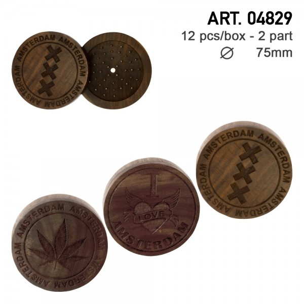 Amsterdam   Wooden grinders with different logos as Amsterdam, XXX and Leaf carved on the lid - 2par