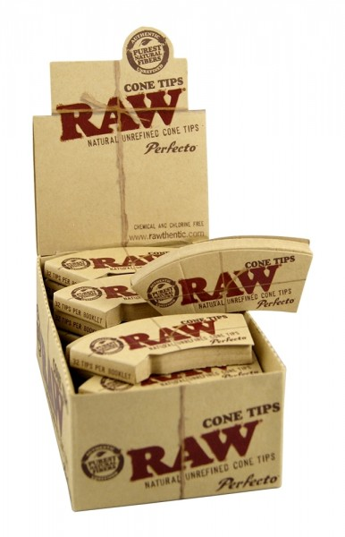 RAW   Cone Maestro Conical Unbleached 32 Filter Tips Wide Perforated